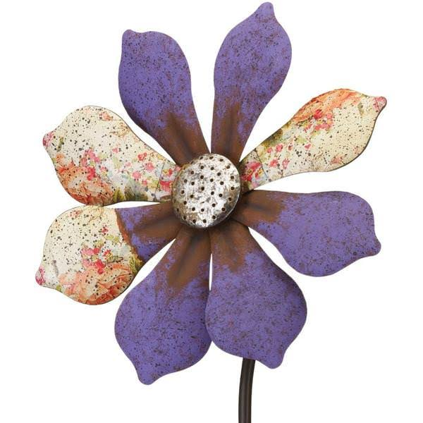 Regal Art & Gift 12296 Rustic Flower Purple Wind Spinner