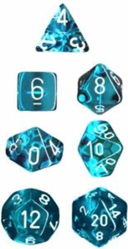 Chessex - Translucent Polyhedral Teal/White 7-Die Set