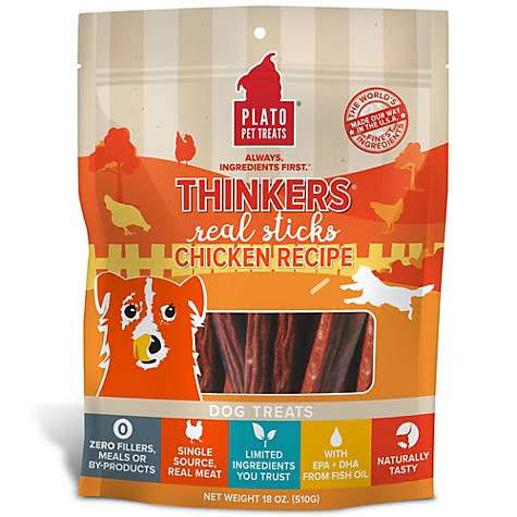 Plato Thinkers Chicken Sticks Dog Treats, 18oz
