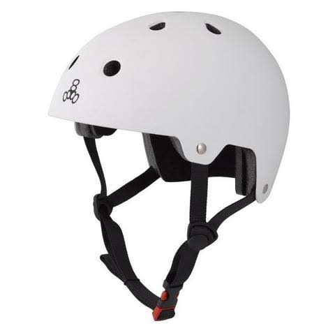 Triple 8 Hardened Dual Certified Skate and Bike Helmet with EPS Liner, L/XL, White