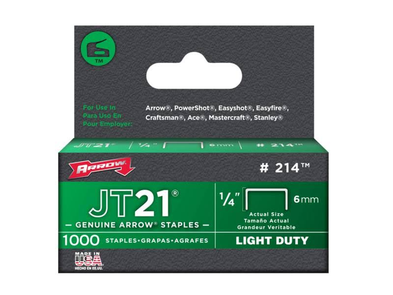 "JT21 Light Duty Staple Wires - 1,000ct, 1/4"" x 6mm"