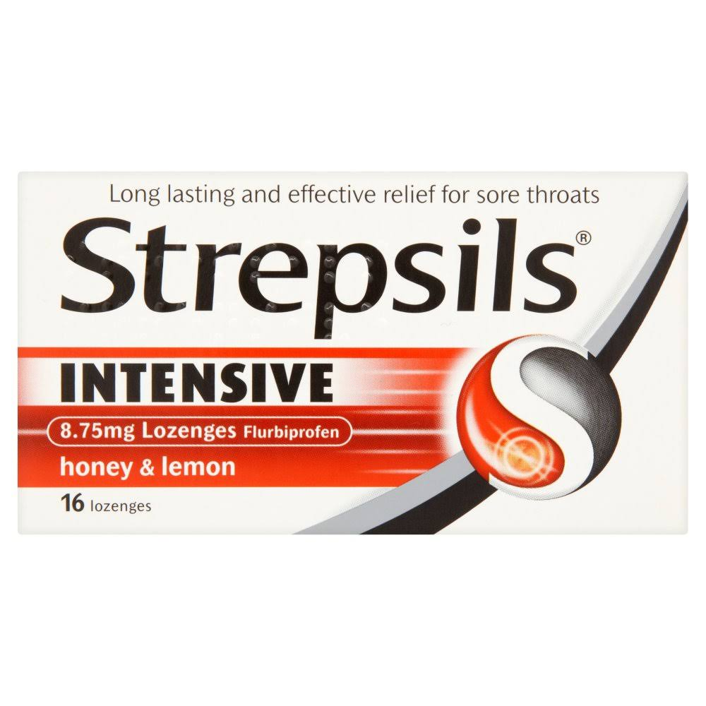 Strepsils Intensive Throat Lozenges - Honey & Lemon, 16 Lozenges