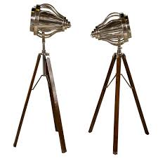 Surveyor Floor Lamp Tripod by Pair Of Industrial Style Tripod Floor Lamps For Sale At 1stdibs