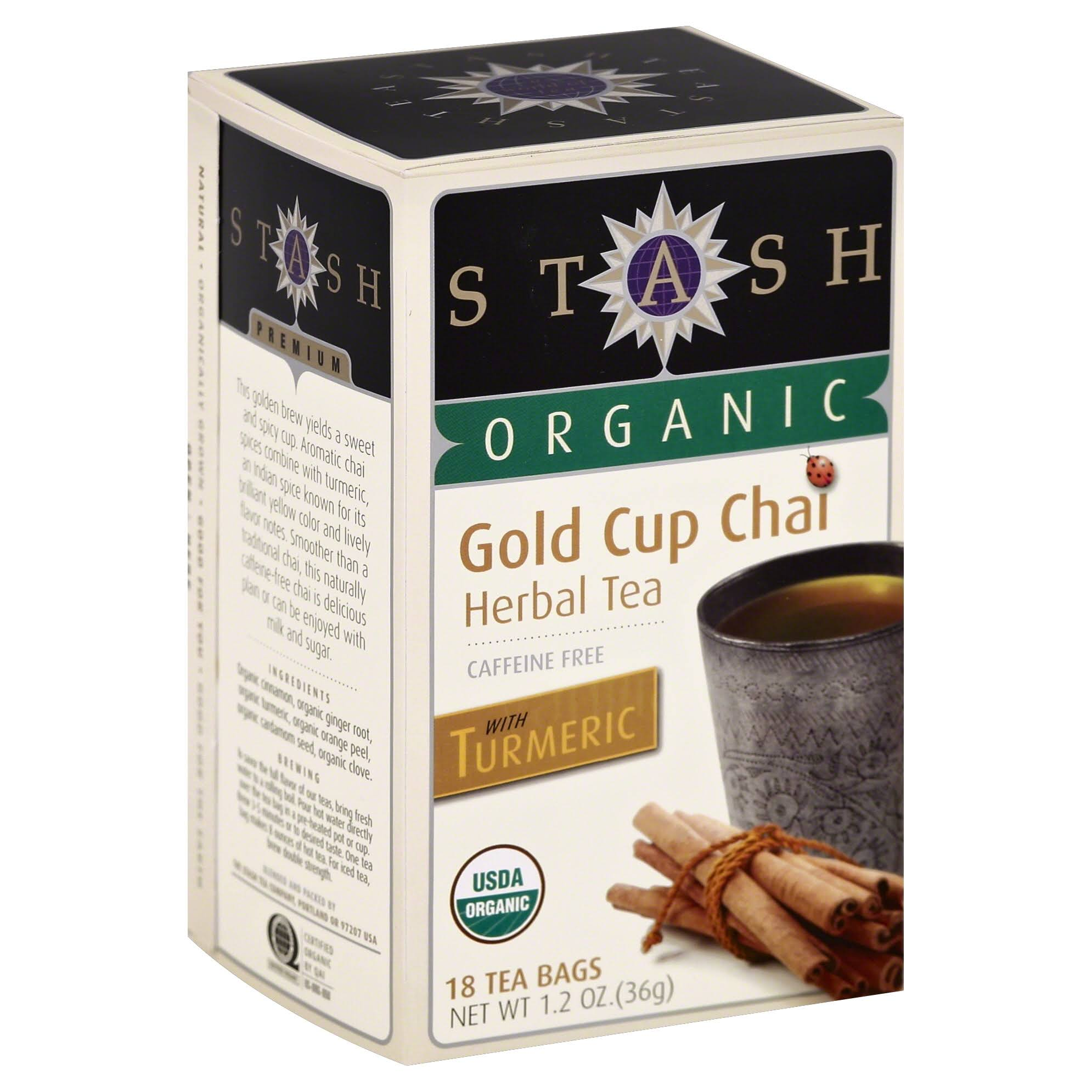 Stash Organic Gold Cup Chai Herbal Tea Bags - 1.2oz, x18