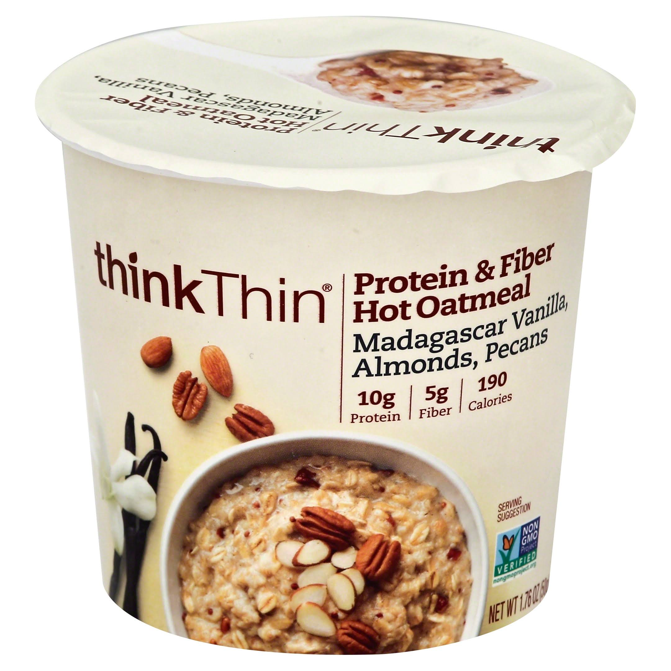 Thinkthin Protein & Fiber Hot Oatmeal - Madagascar Vanilla, Almonds & Pecan, 50g