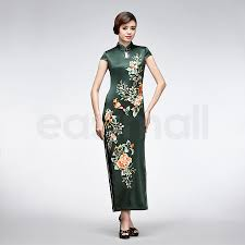 dark green floral embroidered silk qipao short sleeve chinese