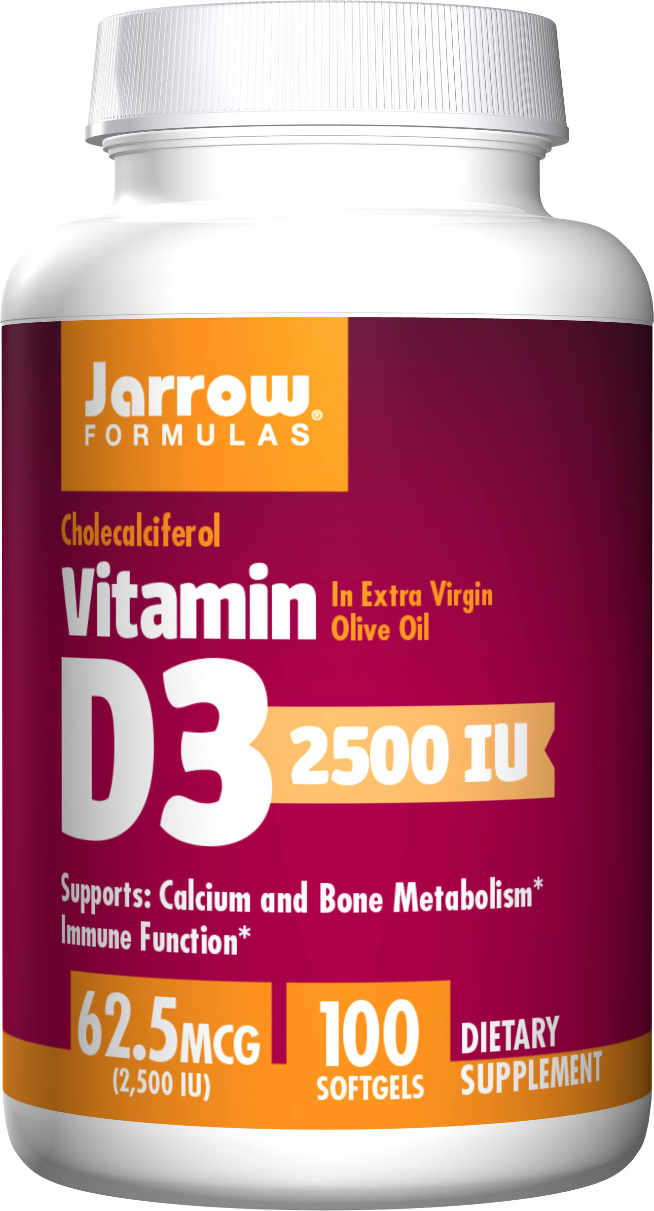 Jarrow Formulas Vitamin D3 - 2500IU, 100 Softgels