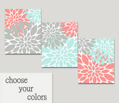 Coral Colored Decorative Items by Bathroom Wall Art Flower Burst Set Coral Turquoise Gray