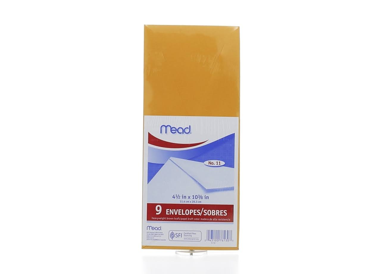 "Mead Kraft Envelopes - 4.5""x10"", 9 Pack"