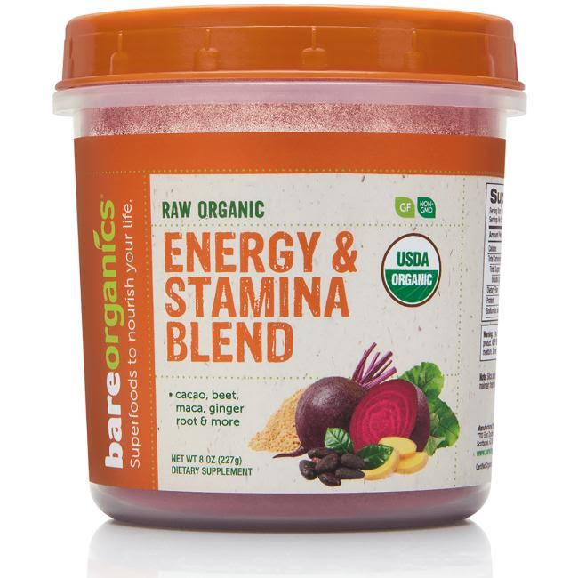 Bareorganics Energy & Stamina Blend, Organic, Raw - 8 oz