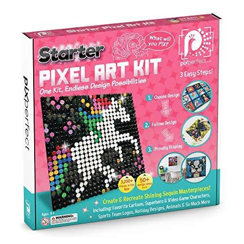 Pix Perfect Starter Pixel Art Kit for Fans of Pixel Art, Crafts or Sequins. 8 Co