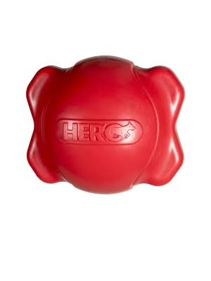 Hero Signature Series Soft Rubber Bone Ball Dog Toy - with Squeaker, Medium, Red