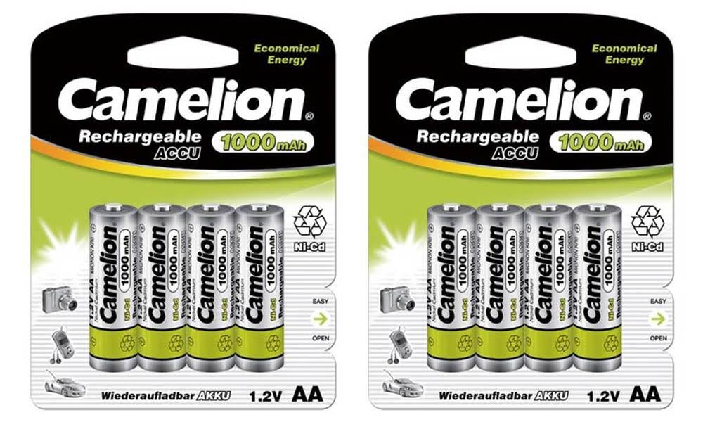 Camelion Rechargeable Batteries in AA & AAA 1000 mAh Batteries Multi-color (2) 4 Packs