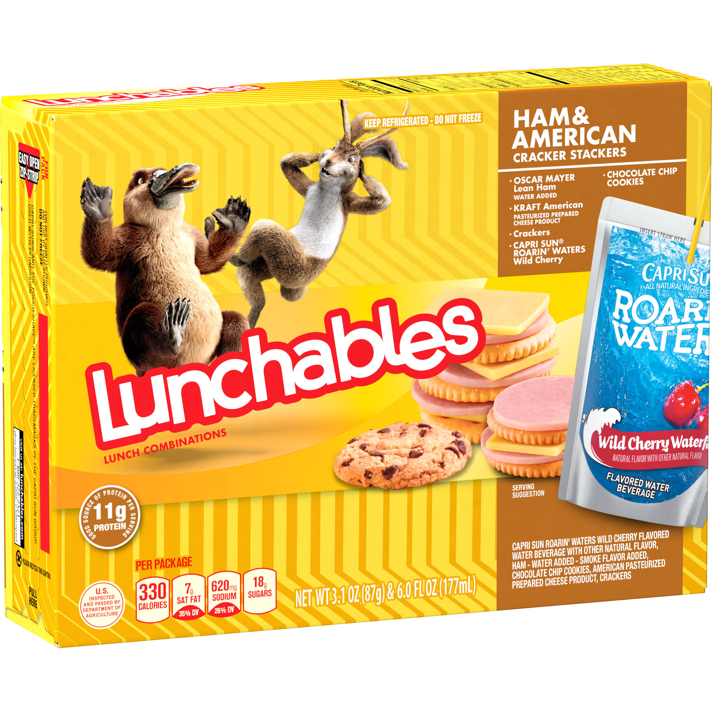 Lunchables Lunch Combinations, Ham & American, Cracker Stackers