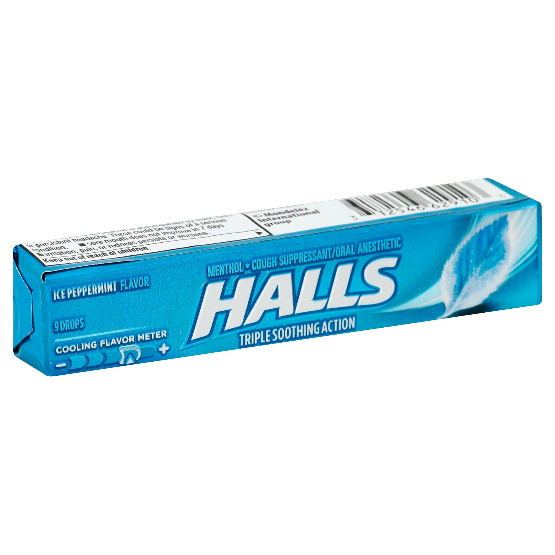 Halls Mentho-Lyptus Cough Suppressant Drops - Ice Peppermint, 9 Drops