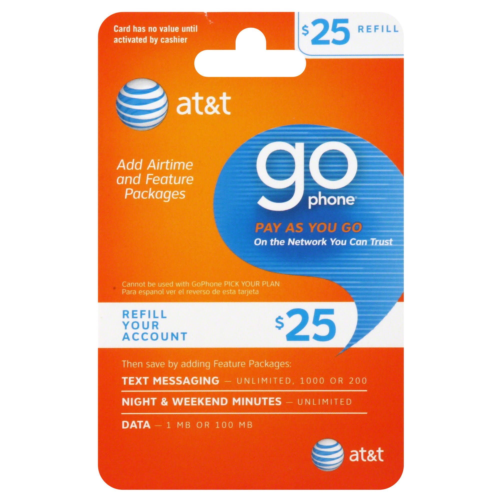 AT & T Go Phone Pay as You Go Refill Card,