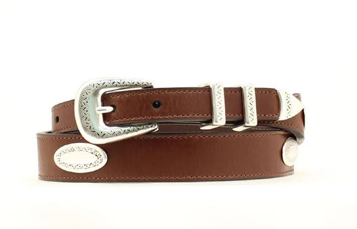Nocona Men's Top Hand Tapered Oval Conchos Belt - Brown, 42""