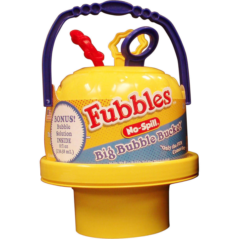 Fubbles Bubble Bucket - with 240ml Bubbles, Red