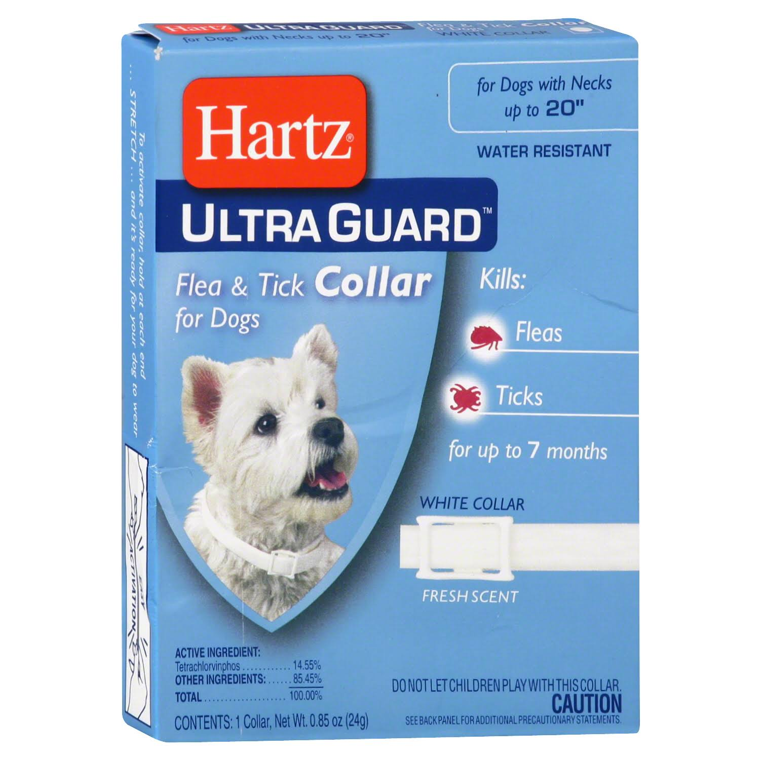 Hartz Ultraguard Flea amd Tick Dog Collar - White, 20""