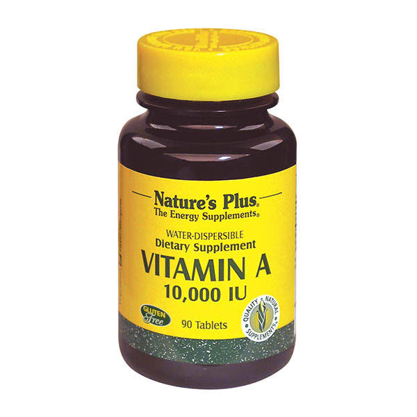 Nature's Plus Water-Dispersible Vitamin A 10000 IU Dietary Supplement - 90 Tablets