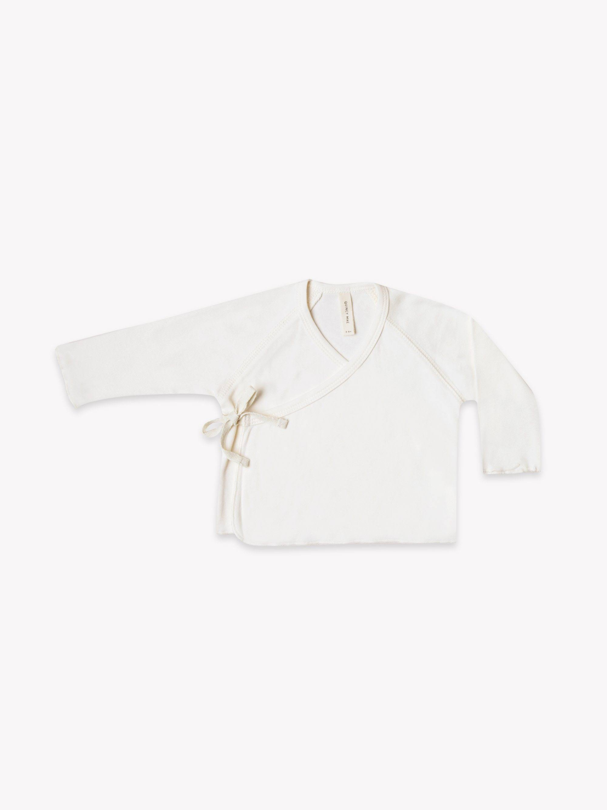 Quincy Mae Kimono Baby Top with 100% Organic Cotton 6 - 12 M / Ivory