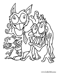 Scary Halloween Coloring Pages Online by Monsters With Ties Coloring Pages Hellokids Com