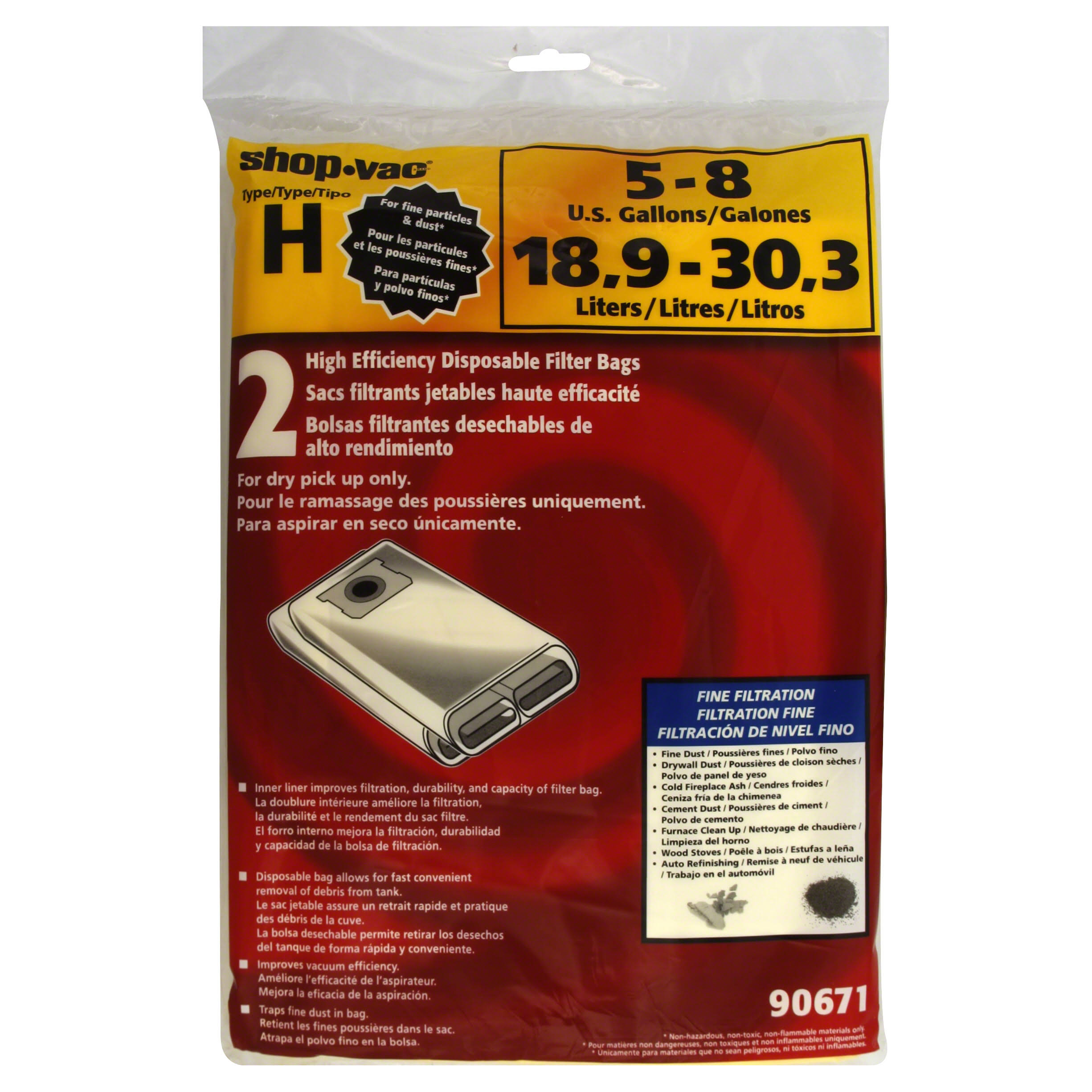 Shop-vac High Efficiency Collection Filter Bags - 5 to 8gal, 2pk