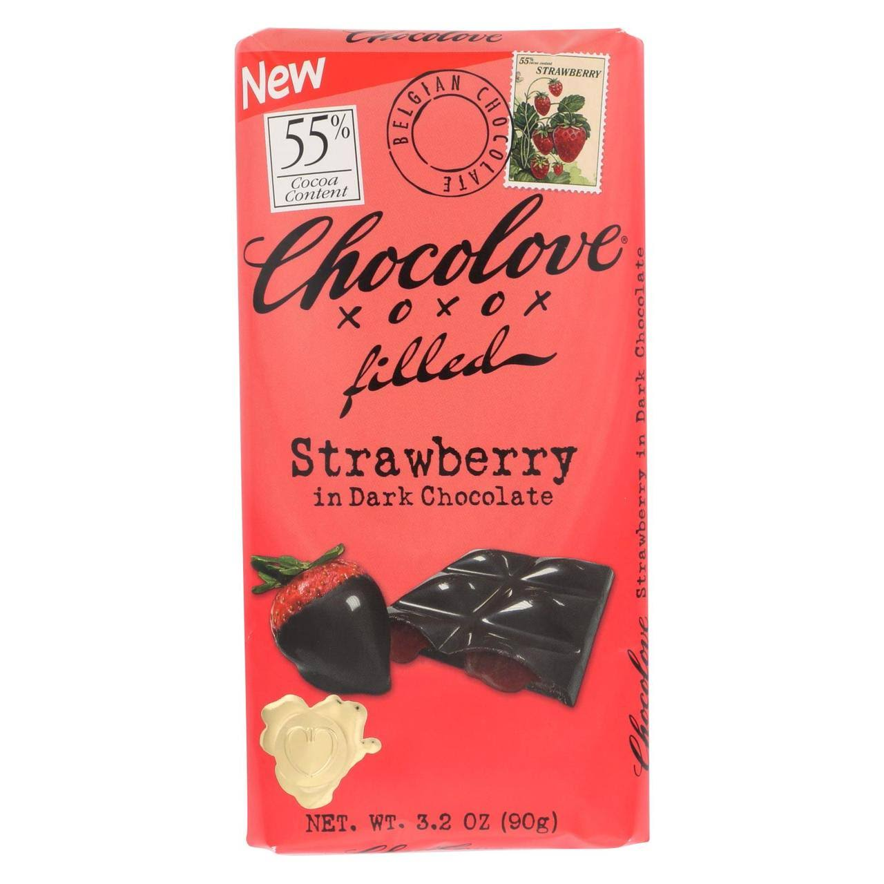 Chocolove Chocolate, Dark, Strawberry, Filled, 55% Cocoa - 3.2 oz