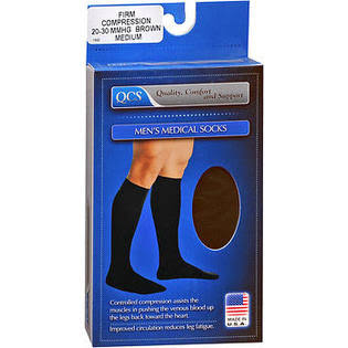 QCS Men's Medical Legwear - Firm Brown, Medium