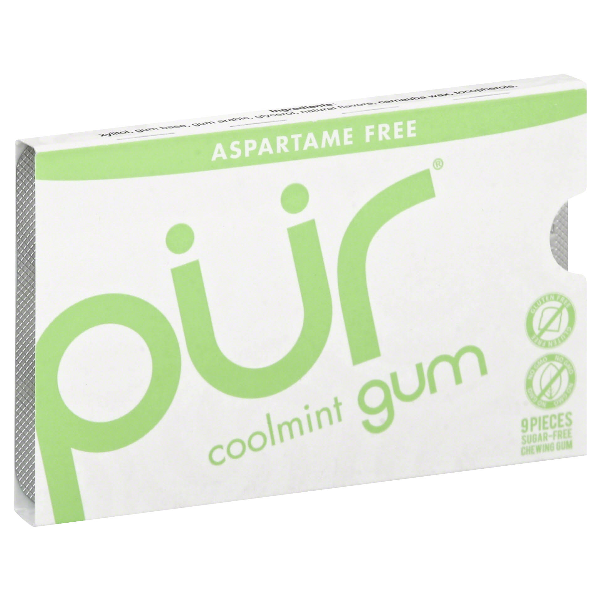 Pur Chewing Gum - Sugar Free, Coolmint, 9pcs