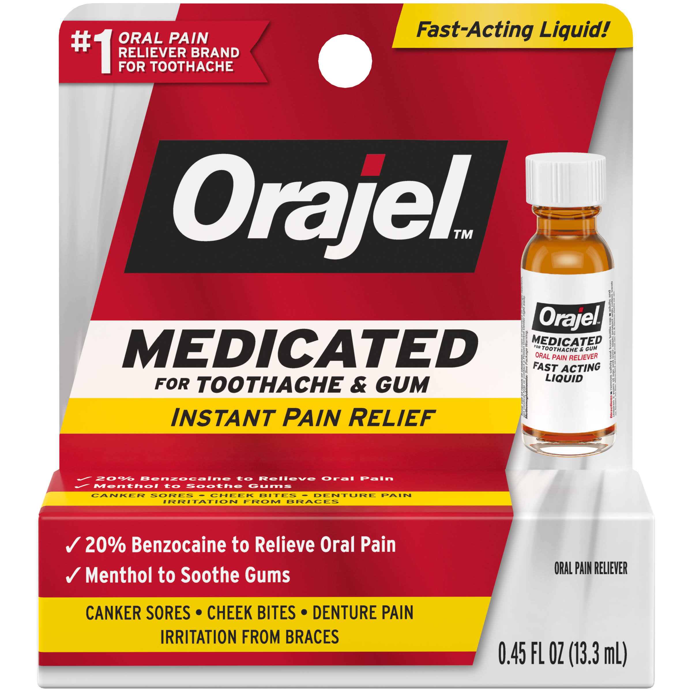 Orajel Liquid Maximum Strength Toothache Pain Relief - 13.3ml