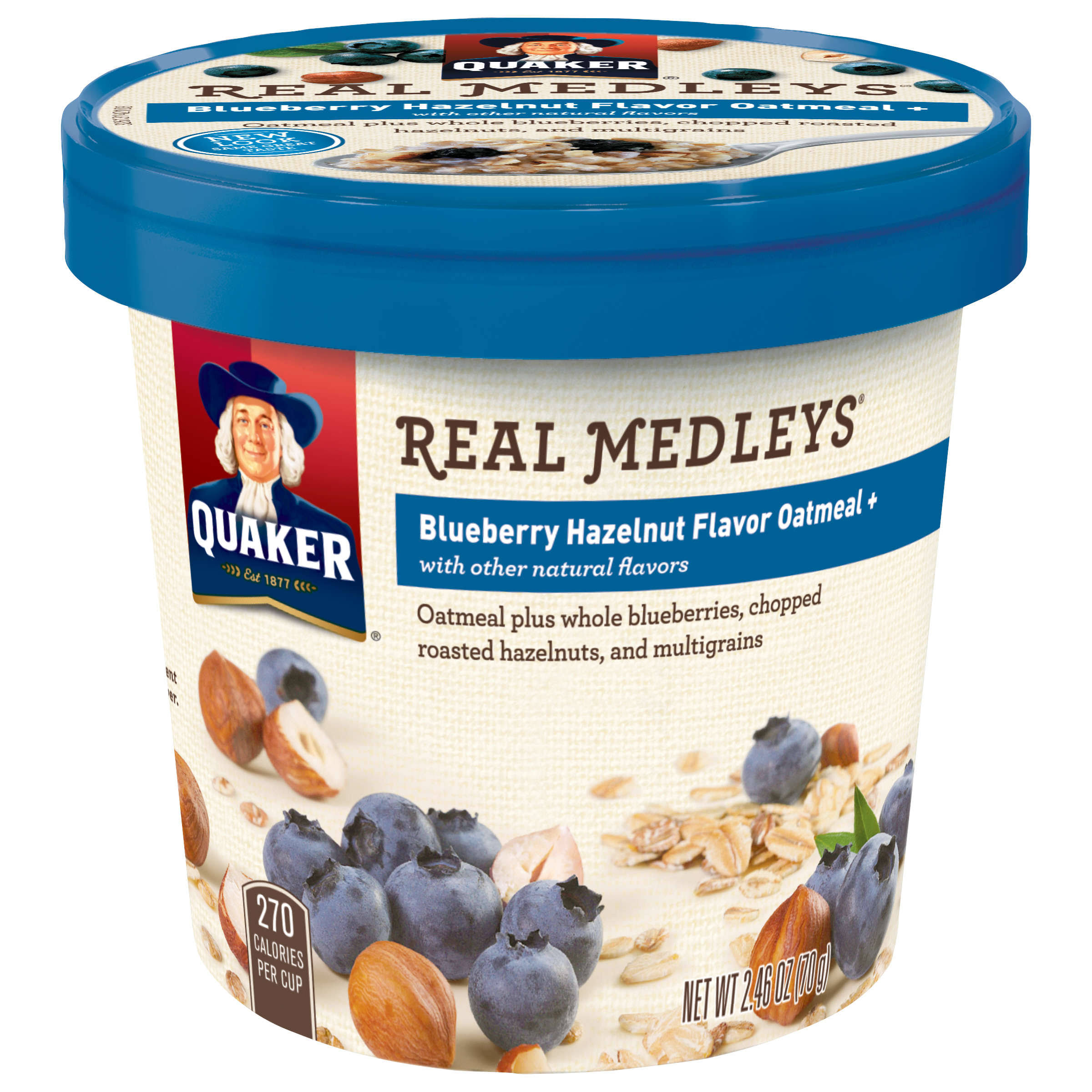 Quaker Real Medleys Oatmeal - Blueberry Hazelnut, 70g