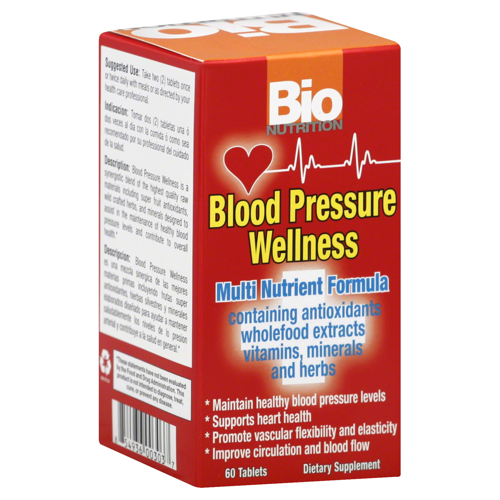 Bio Nutrition Blood Pressure Wellness Dietary Supplement - 60 Tablets