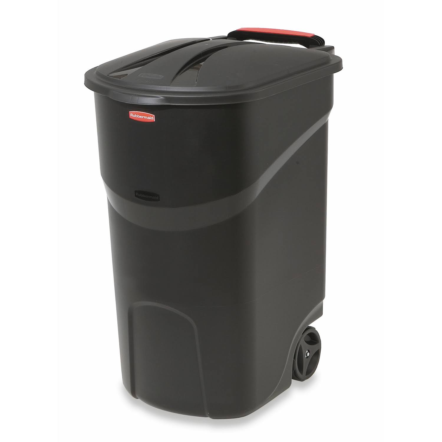 Rubbermaid Roughneck Wheeled Trash Can - with Lid, Black, 45gal