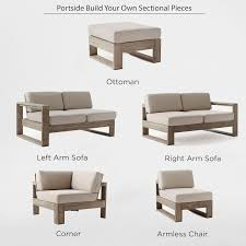 Build Your Own Outdoor Patio Table by Build Your Own Portside Sectional Weathered Gray West Elm