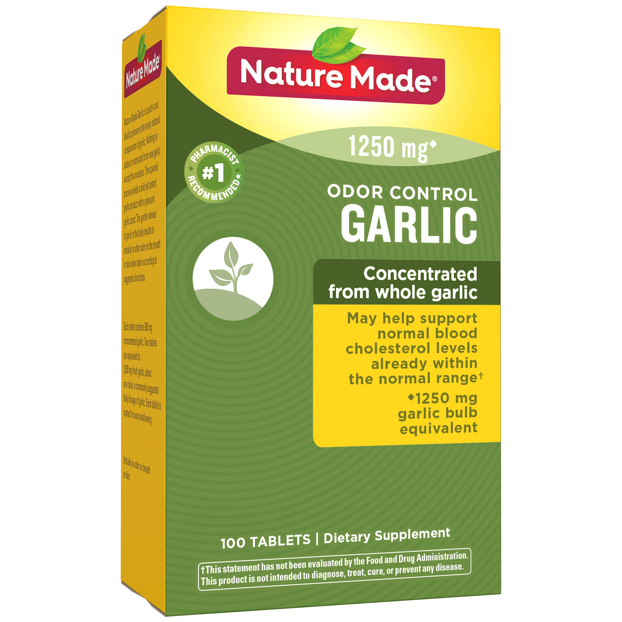 Nature Made Odor Control Garlic Supplement - 1250mg, 100ct