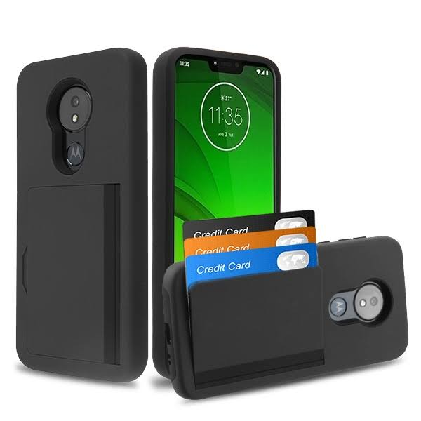 Motorola Moto G7 Power Hybrid Card Holder Case Cover - Black