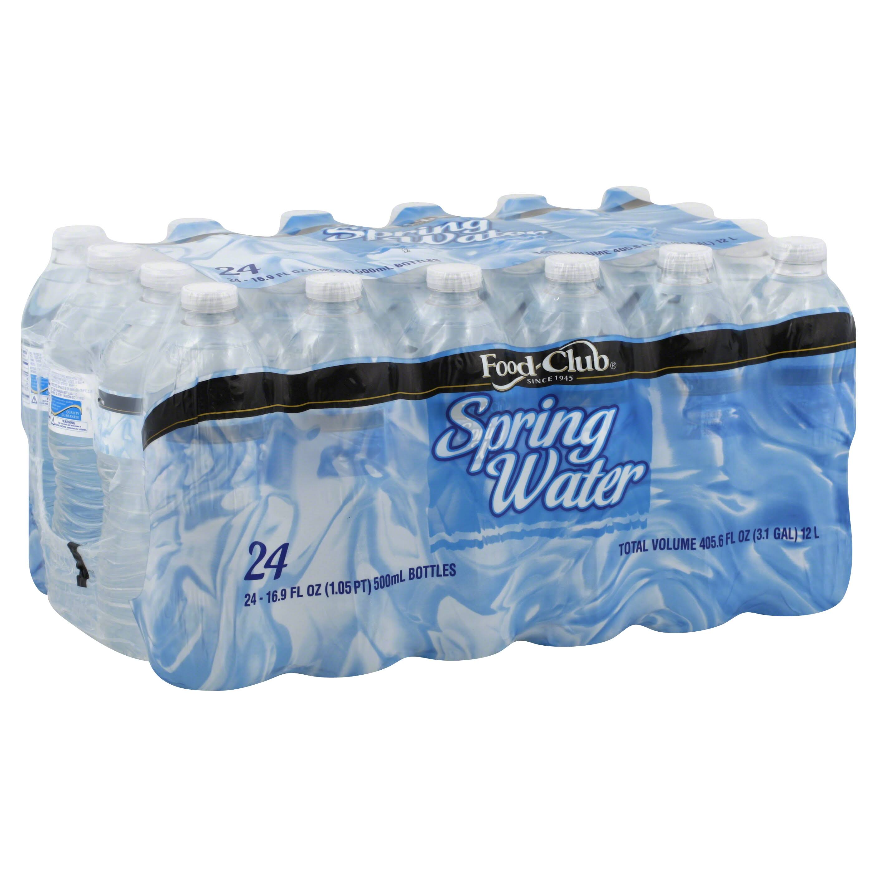 Food Club Water, Spring - 24 pack, 16.9 fl oz