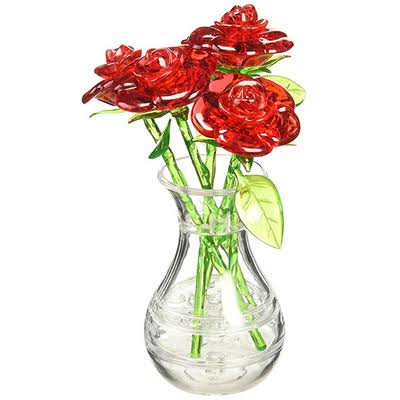 Bepuzzled Original 3d Crystal Puzzle - Roses in a Vase