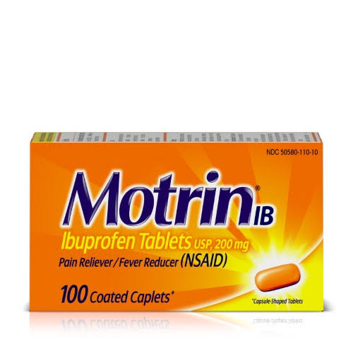 Motrin Ibuprofen Tablets Pain Reliever - 100 Caplets