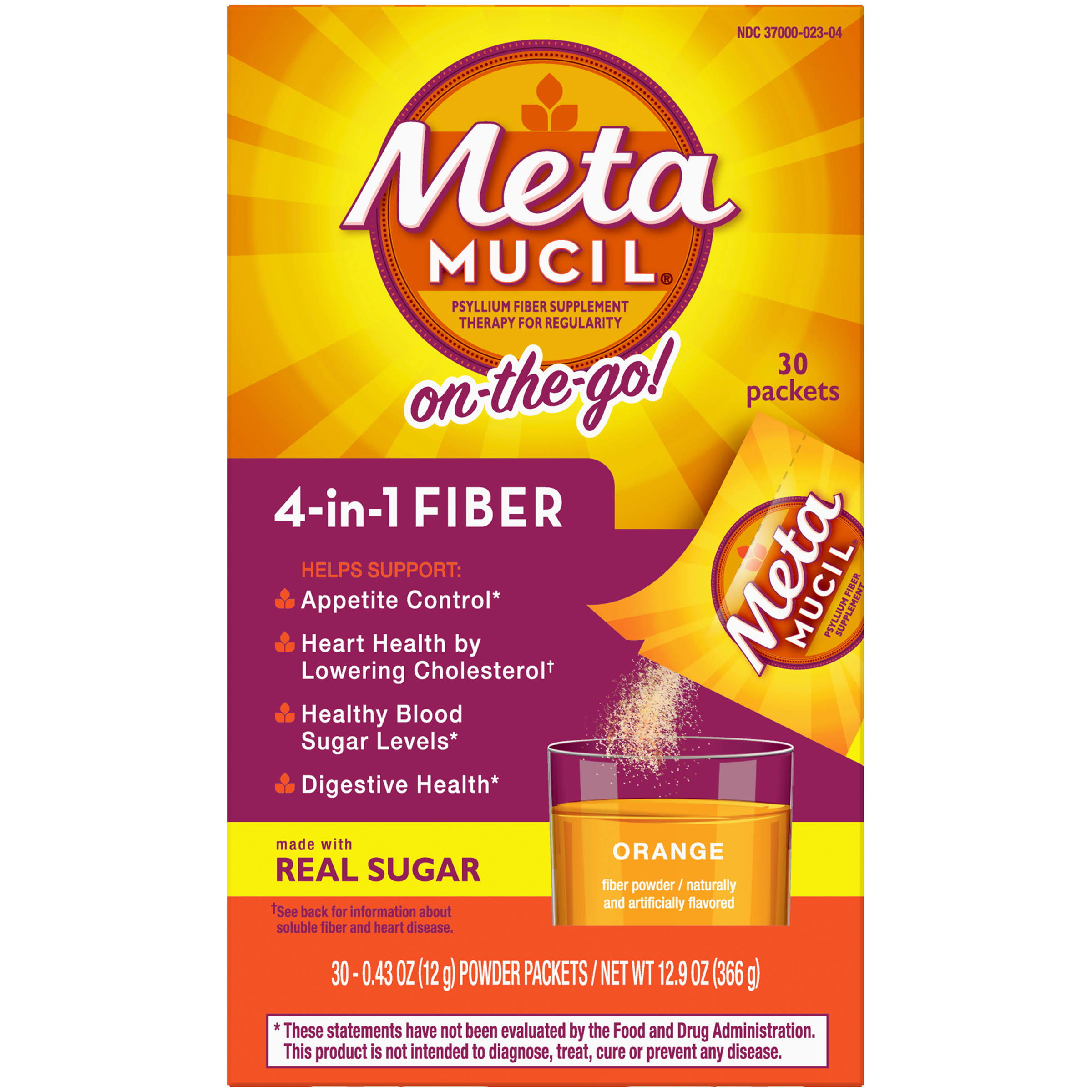 Metamucil Multi-Health Fiber Supplement - Orange, 30 Packets
