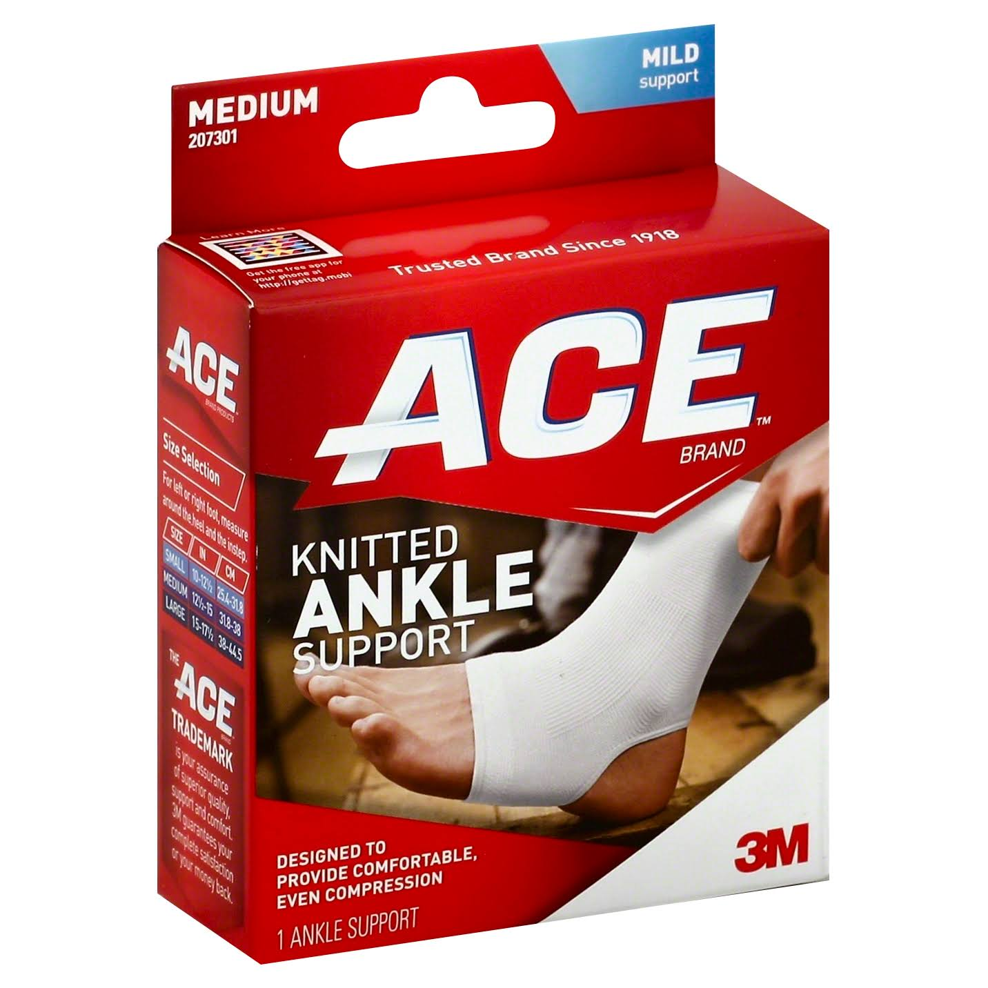 Ace 207301 Compression Ankle Support - Medium, Mild Support