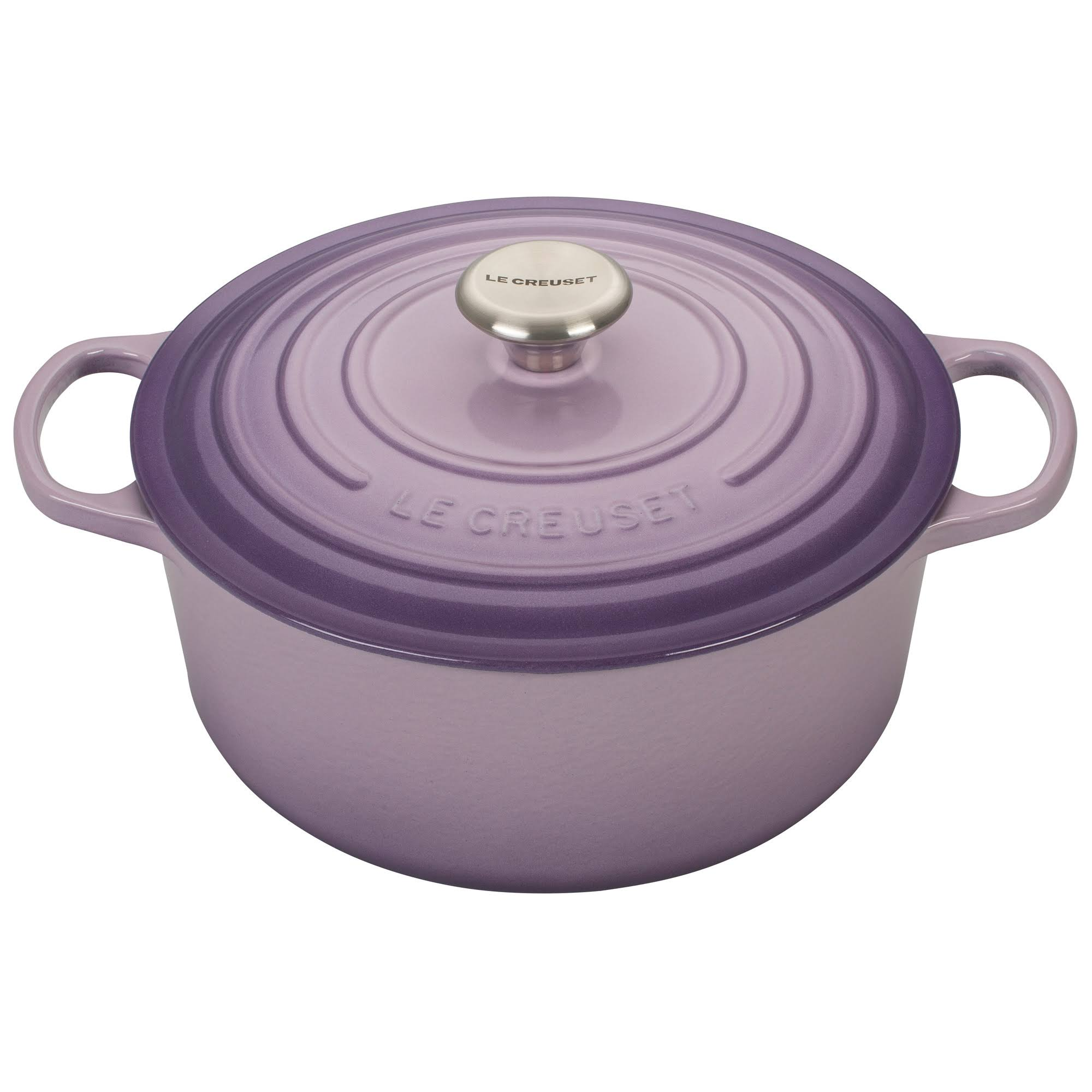 Signature Enameled Cast Iron Round French Oven - Blue Bell Purple, 5.5qt