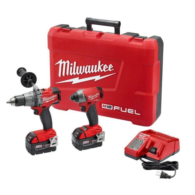 Milwaukee Fuel Cordless Hammer Drill Hex Impact Driver Kit - 18V
