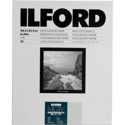 "Ilford Multigrade IV RC Deluxe Resin Coated VC Paper - Pearl, 8"" x 10"", 25 Sheets"