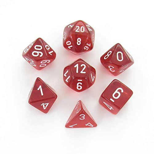 Chessex 7 Set Polyhedral Dice Translucent Red White CHX23074