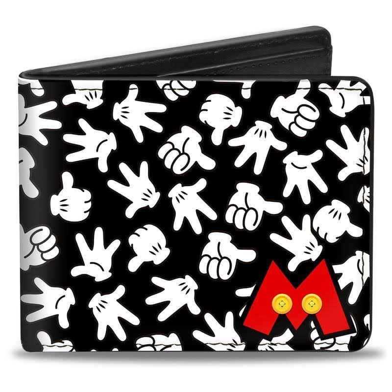 Buckle-Down Bi-Fold Wallet - Mickey Mouse M ICON/HAND Gestures Scattered Black/White