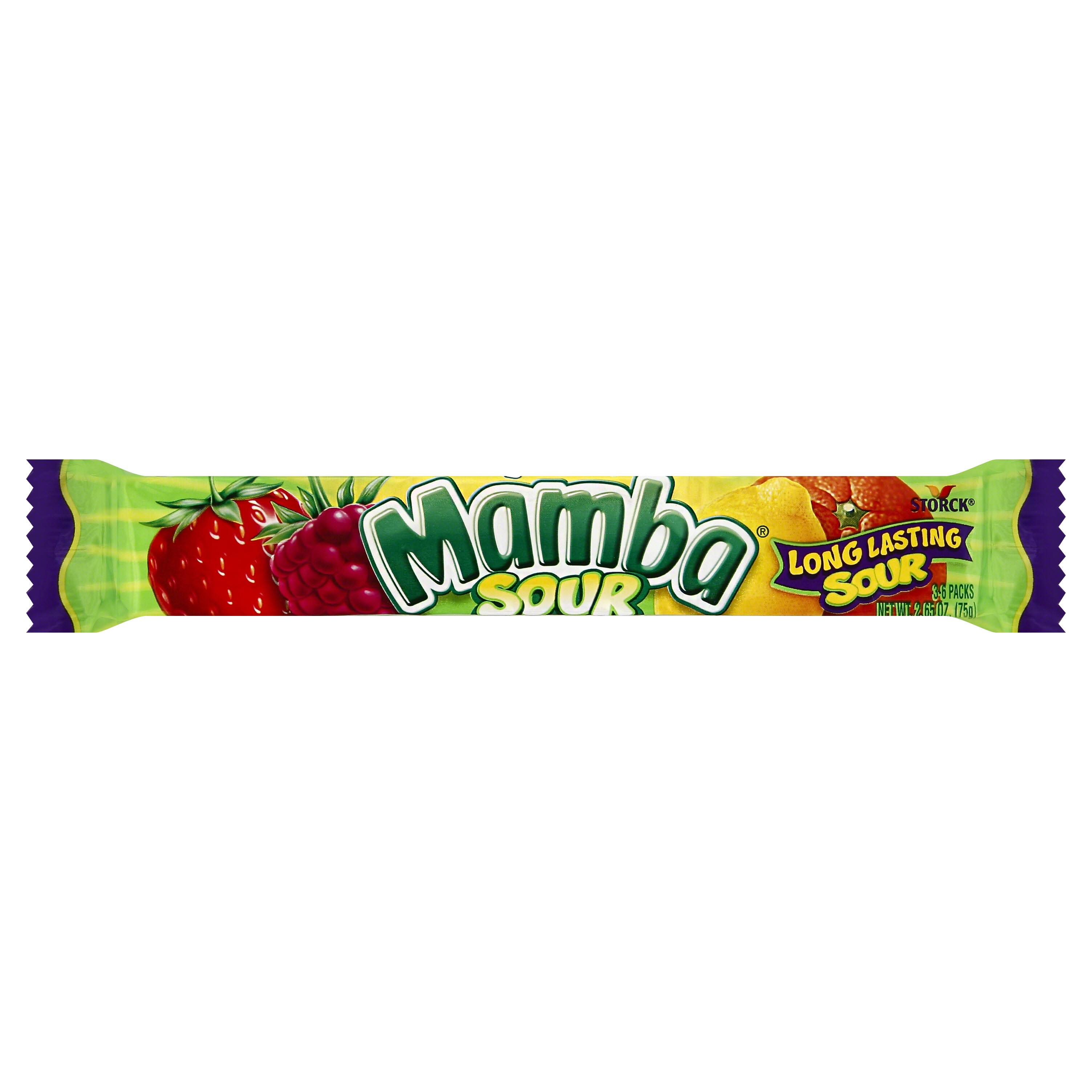 Mamba Fruit Chews, Sour - 3 6 packs, 2.65 oz