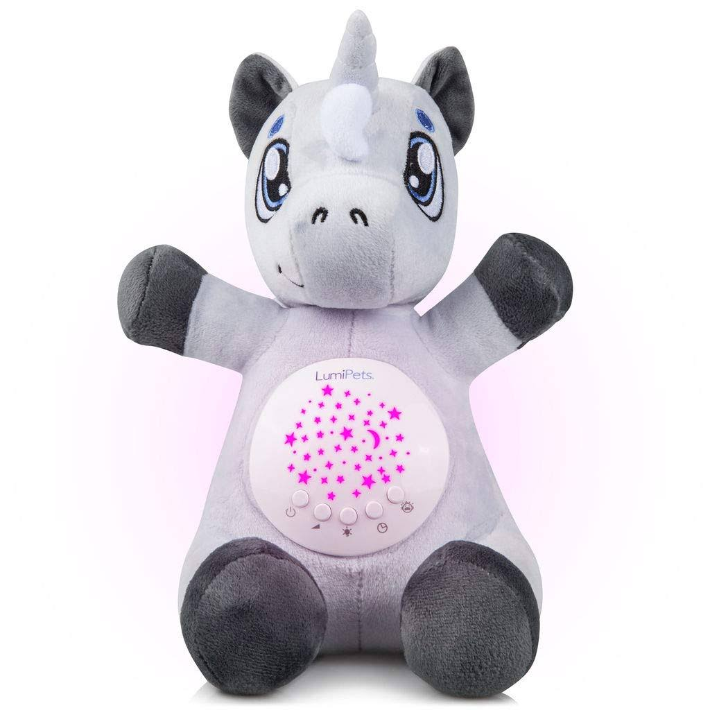 Baby White Noise Machine Music Soothers for Sleep: LumiPets Night Light Projector and Sound Machine Unicorn Stuffed Animal