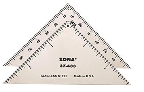 Zona 37-433 Triangle Ruler - Stainless Steel, 3""